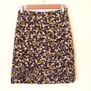 Boden leaf print fancy hem corduroy skirt